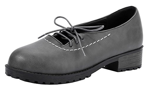 Amoonyfashion Femmes Bout Rond Talons Bas Pu Chaussures À Lacets Chaussures-gris