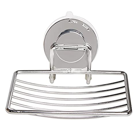 iLooper Soap Dish Holder, Vacuum Suction Cup Rustproof Soap Holder Strong Wall Mounted Sucker Suction Bathroom Kitchen Soap Basketball Holder Hanger Stainless - Marble Chrome Wall