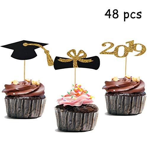 48pcs Graduation Cupcake Toppers, 2019 Graduation Party Decorations, Black and Gold Cupcake - Wood Picks Toppers Cupcake For