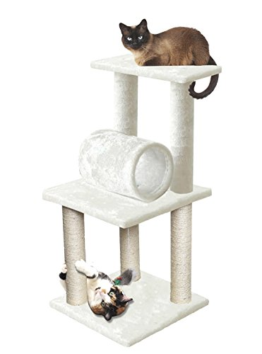 "33"" White Pet Cat Tree Play Tower Bed Furniture Scratch Post Tunnel Toy Mouse (Indoors Furniture Nz Out)"