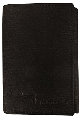 Fold Black Leather Wallet (Genuine Leather Wallets For Men - Trifold Mens Wallet With ID Window RFID Blocking)