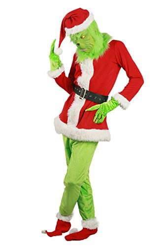 (Grinch Costume Green Mask Santa Hat Shoes Halloween Cosplay Suit Christmas Outfit)
