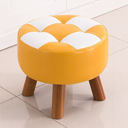 D&L Upholstered Round Footstool Ottoman Creative 4 Legs Solid Wood Stool Sofa Coffee Shoe Stool Faux Leather-yellow W40xH32cm by D&L