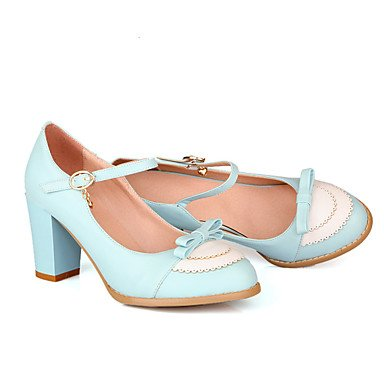 Zapatos de tacones de las mujeres Primavera Verano Otoño Invierno Comfort cuero sintético oficina y carrera Fiesta y Noche Casual tacón grueso del Bowknot azul BuckleBlack Black