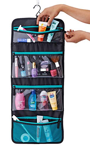 Sea-Breeze Hanging Toiletry Bag (Black with Aqua Zippers and Mesh Pocket)