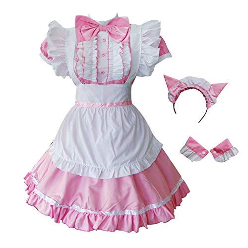 GRACIN Womens Cat Ear French Maid Costume with Apron, Halloween Lolita Cosplay Fancy Dress (X-Small, Pink)
