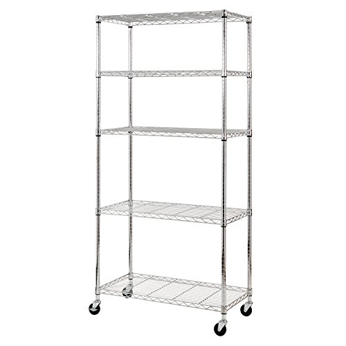 "Sandusky MWS361872 5-Tier Mobile Wire Shelving Unit with 3"" Rubber Casters, 5 Wire Shelves, Chrome, 72"" Height x 36"" Width x 18"" Depth"