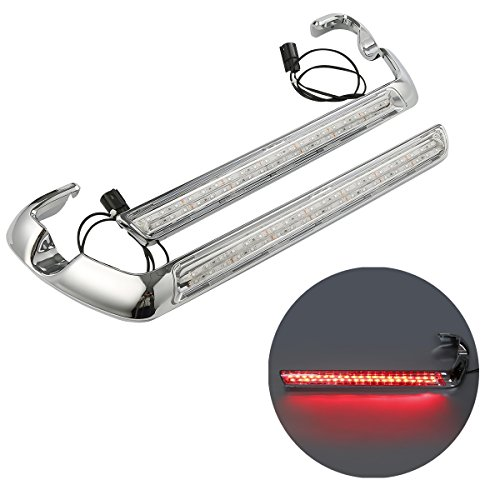 XMT-MOTO wrap-around Saddlebag Side Marker Light Kit(Chrome Housing w/Clear Lens) Fits 2014-Later Harley-Davidson Touring models with hard saddlebags