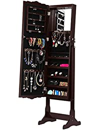 Mirror Jewelry Armoire Cabinet, Full Length Standing Jewelry Organizer With  10 LEDs, 5