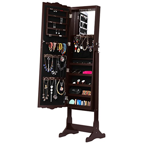 ry Armoire Cabinet, Full-Length Standing Jewelry Organizer with 10 LEDs, 5 Shelves, Additional Mirror Inside, Brown ()