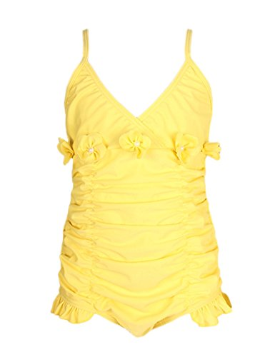 [Perfashion Kids Childrens Girls Swimming Costume Adjustable Strap One Piece Beachwear Yellow 5] (Toddler Girl Racer Costume)