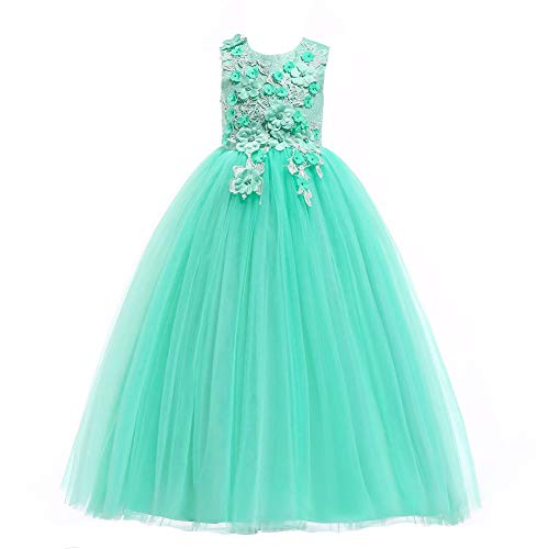 Weileenice 3-16Y Big Girls Lace Bridesmaid Dress Dance Gown A Line Dresses Long for Party Christmas (3-4Y, Mint Green) -
