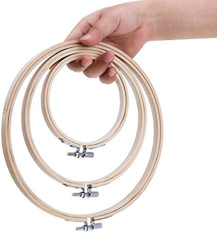 Beauneo 3 Stueck Stickrahmen Bambus Kreis Kreuzstich Hoop Ring Set Fuer Kunst Handwerk handlich Naehen 3 Groessen