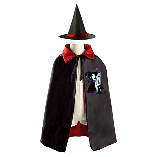 Wicked Witch Cat Reversible Halloween Costume Witch Cape Cloak Kid's Hat