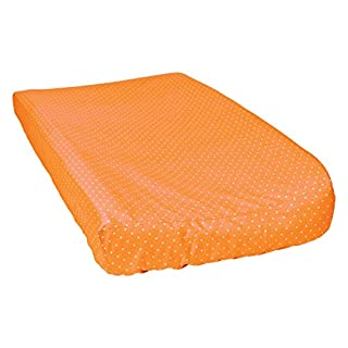 Trend Lab 100% Cotton Dot Changing Pad Cover, Orange/White