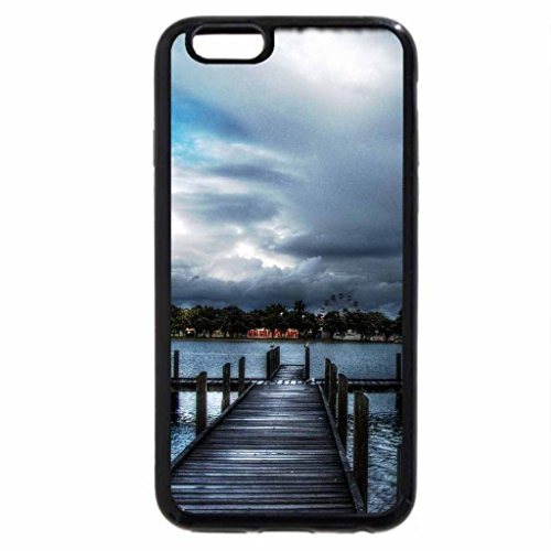 iPhone 6S / iPhone 6 Case (Black) docks on a lake under stormy sky