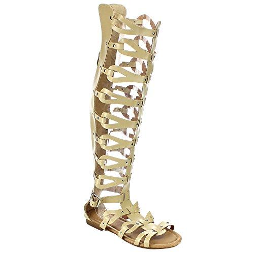 Scarpe Da Donna Con Cinturino Alla Caviglia Con Tacco Alto Gladiatore Color Beige Per Sempre Alyssa-17