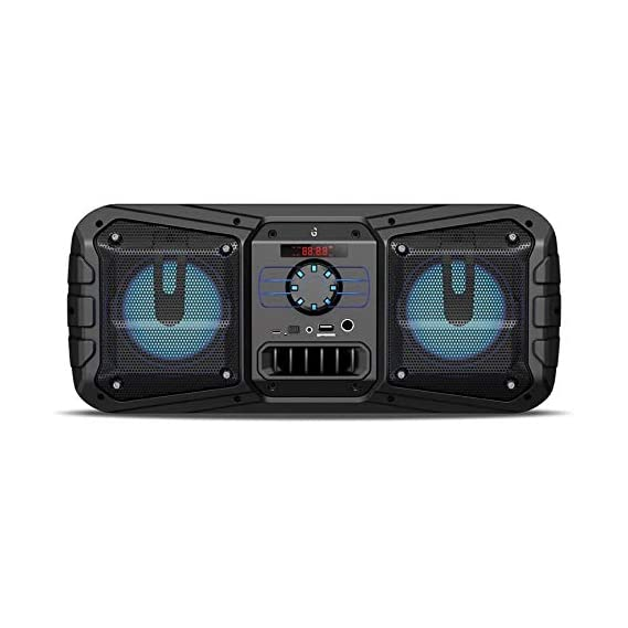 iGear-Rockstar 10 watts Bluetooth wireless party speaker with corded mike/TF/FM/AUX/USB/Karoke/Party Speakers and LED