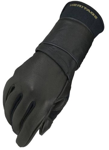 Heritage Pro 8.0 Bull Riding Gloves, Size 8, Black