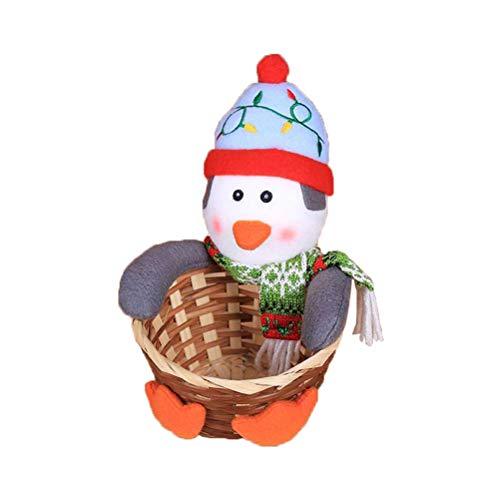 PRETYZOOM Canasta de Dulces de Navidad en Forma de Muñeca Pingüino Canasta de Almacenamiento de Alimentos para Navidad...