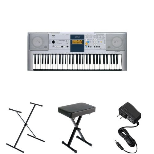 Yamaha PSRE353 61-Key Portable Keyboard with Stand, Bench, and Power Supply