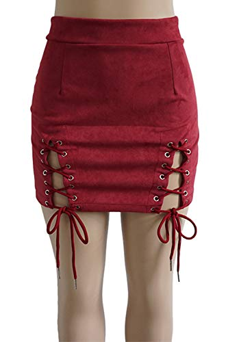 Zilcremo Femmes Suede Lace Up Jupe Taille Haute Solide Moulante Mini Jupes 9