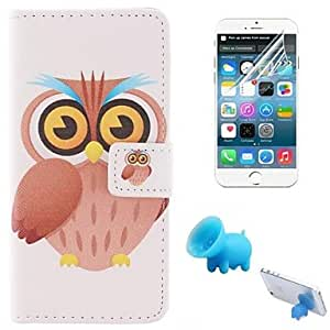 QJM Cartoon Owls Pattern PU Leather Full Body Cover with Pig Stents and Protective Film for iPhone 6