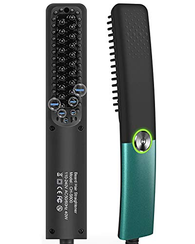 LOBKIN Electric Beard/Hair Straightener Brush Comb, Hot Tools Hair Flat Curling Iron, Fast Shaping for Beard Grooming And Hair Styling for Men (GREEN)