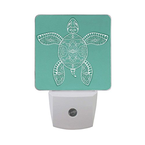 White Tribal Sea Turtle with Floral Lace Ornament Decorative Ethnic Animal Design Auto Sensor LED Dusk to Dawn Night Light Plug in Indoor for ()