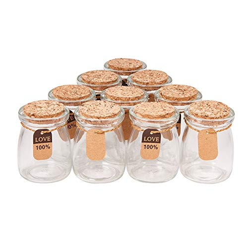 - BENECREAT 10 Pack Glass Wedding Party Favor Jars with Cork Lids, Label Tags and String for Candy, Spices, Seashell Collection, Candle Making and More