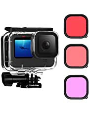 TELESIN Waterproof Case with 3-Pack Dive Filter for GoPro Hero 10 Hero 9 Black Supports 45M/148FT Underwater Scuba Snorkeling Deep Diving with Red Magenta Filter Bracket Screw Accessories