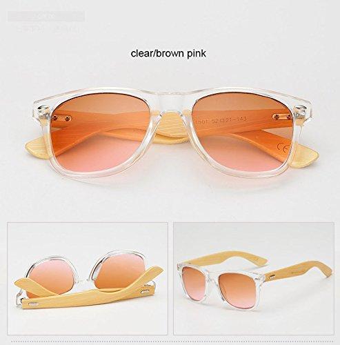 dorado sol Hombres rosa de gafas espejo Sport Plaza 1501marrón sol Unisex Mujeres sol de Negro bambú madera Amarillo Gafas estilo clara de 1501 gafas ZHANGYUSEN de de sombras E0q7nFw