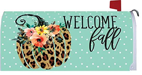 Custom Decor Cheetah Pumpkin - Mailbox Makeover - Vinyl with Magnetic Strips for Steel Standard Rural Mailbox - Made in The USA - Copyright, Licensed and Trademarked Inc. -