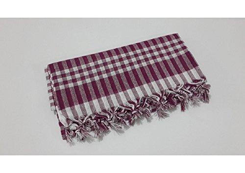 fdm Tablecloth Checkered Linen Plaid Picnic Throw Blanket Table Cover Gingham Check Buffalo Bohemian Retro Vintage mantel (64×64, burgundy) Review