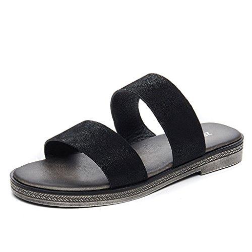 Moda Sandali Dimensioni 5 Eu36 Estate All'aperto Femminile cn35 Pantofole uk3 Piatto Da Fondo Spiaggia colore A Nero Nero 0dcHq