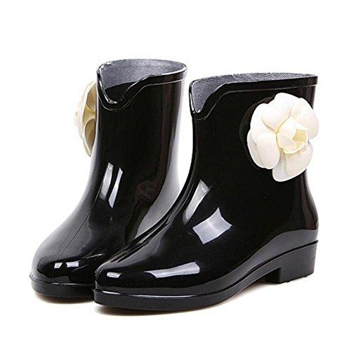 SISHUINIANHUA Las señoras en el Tubo Botas de Lluvia/Zapatos de Goma con Lentejuelas Botas de Lluvia/Botas de Agua Antideslizante Zapatos 2
