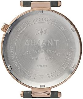 AIMANT Women's Watch Bora Rose Gold with Grey Leather Band LBO-120L8-8RG
