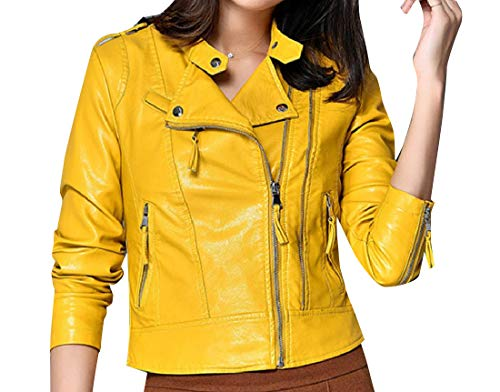Guard with Fit Chin Moto Womens Yellow Regular Mogogo Short Jacket Biker 1Rz0x