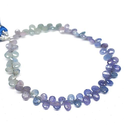 GemAbyss Beads Gemstone Shaded Blue Sapphire Faceted Briolette Pear Drop Gemstone Craft Loose Beads Starnd 8 Inch Long 6.5mm 6mm Code-MVG-26599