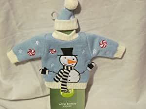 Food Network Knit Snowman Sweater Wine Bottle Cover