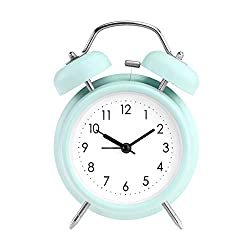 PILIFE 5 Twin Bell Alarm Clock with Backlight, Loud Alarm to Wake You Up, Silent Working Perfect for Bedroom and Work(Green)