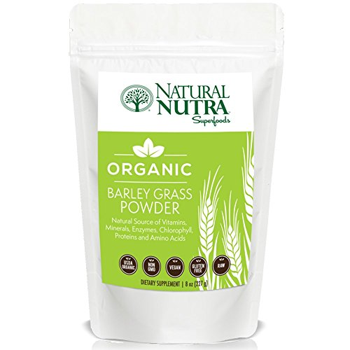 Organic Barley Grass Powder by Natural Nutra – 8oz, 75 servings – Superfood Dietary Supplement: Antioxidants, B-Vitamins, Amino Acids, Energy, Alkaline – USDA Organic, Non GMO, Vegan, Gluten Free, Raw