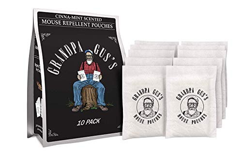 Grandpa Gus's Mouse Repellent Pouches - Natural Peppermint Oil Mice Rodent Trap Alternative - 10 Pk (Indoor Mouse Repellent)
