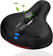 Bike Seat, Replacement Wide Saddle Bicycle with Waterproof Memory Foam Padded Leather, Reflective Strip Seat C