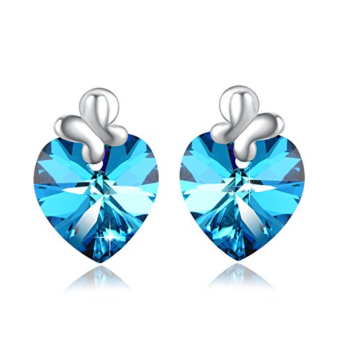 PLATO H Blue Heart of Ocean Bow Tie Stud Earring with Swarovski Crystals Gift for Her