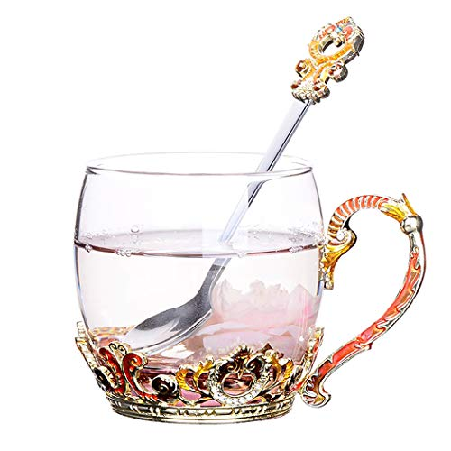 Tea Cups Coffee Mug with Spoon, Handmade Enamel Design Royal Classic Clear Glass Lead Free Cup for Birthday Valentine's Day Decoration Gifts (Gold Short)