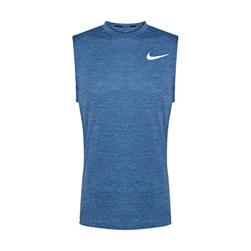 Nike Men's Breathe Printed Running Tank Top (Small, Glacier Blue/Heather/Reflective Silver)