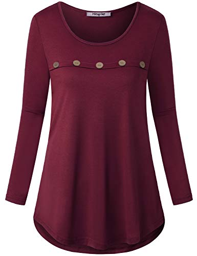 Hibelle Womens Long Sleeve Tops, Ladies Round Neck A Line Plus Size Tunics to Wear with Leggings Chic Buttons Desinging Thin Fall Winter Casual Basic T Shirt Heathered Red M ()