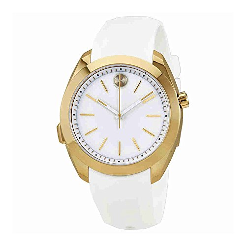 Women's Swiss Quartz Stainless Steel and Silicone Casual Watch, Color White (Model: ) - Movado 3660006