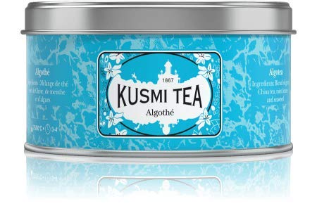 Kusmi Tea - Algotea - Seaweed and Mint Flavored Green Tea with Mint Essential Oil - 4.4oz of Natural Loose Leaf Green Tea in an Eco-Friendly Metal Tin (50 Servings)